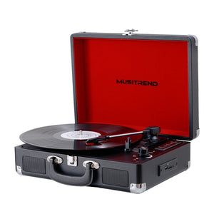 Musitrend Portable Suitcase Turntable Headphone