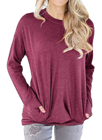 LYXIOF Sweatshirt Pocket Pullover Sleeve