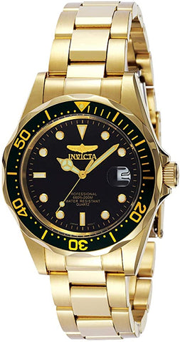 Invicta Diver Quartz 23k Yellow Gold Plated Stainless Steel Sport