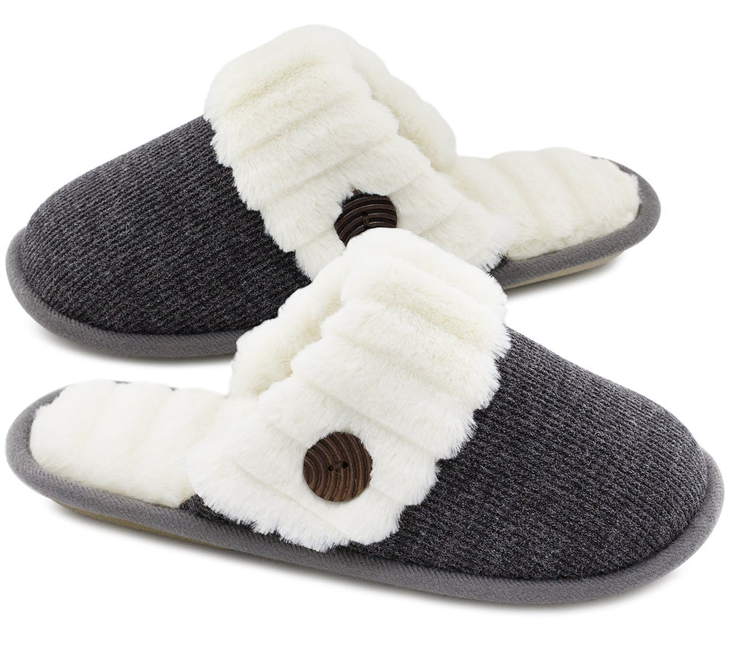 HomeTop Womens Knitted Memory Slippers