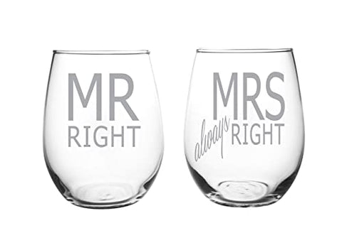 Stemless wineglass Wedding gift Engagement Laser Glassware
