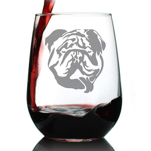 Bulldog Stemless Wine Glass Bulldogs
