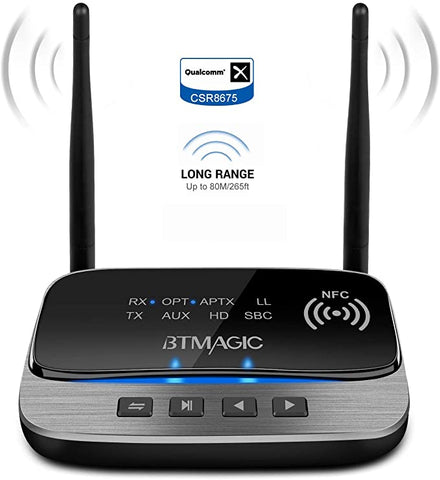 BTMAGIC Bluetooth Transmitter Headphone Rechargeable