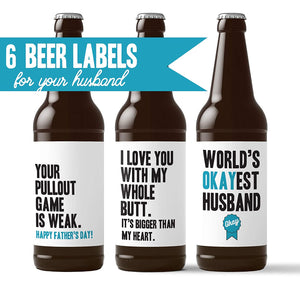 Husband Fathers Day Beer Labels
