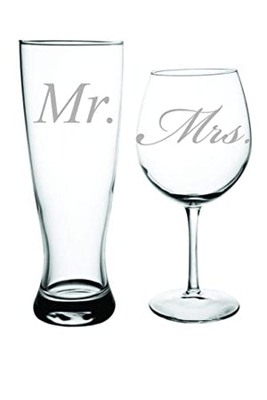 Mr Mrs Beer wine glass