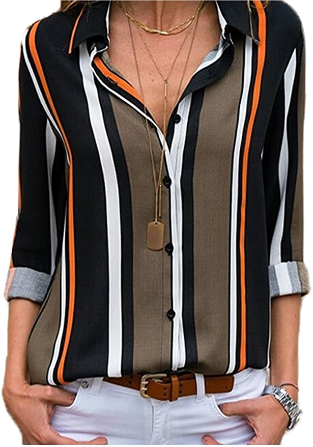 Dearlovers Womens Sleeves Striped Blouses