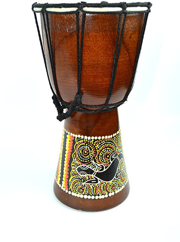 DJEMBE CARVED AFRICAN ABORIGINAL LIZARD