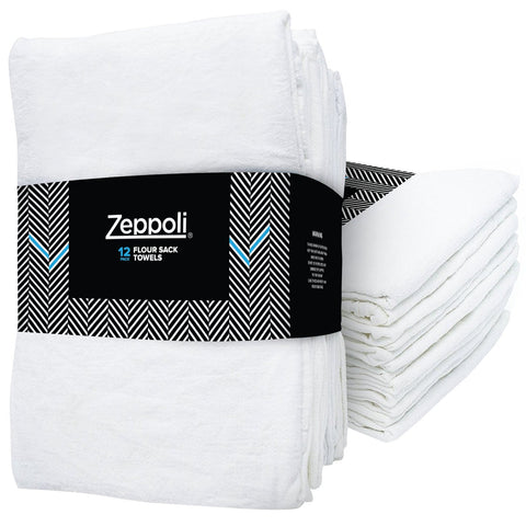 Zeppoli 12 Pack Flour Sack Towels