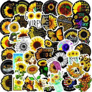 Sunflower Stickers Waterproof Bottles Computer