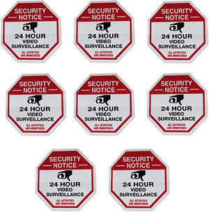 Octagon Shaped Surveillance System Security Stickers