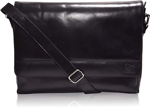 Leather Messenger Bag Laptop Briefcase