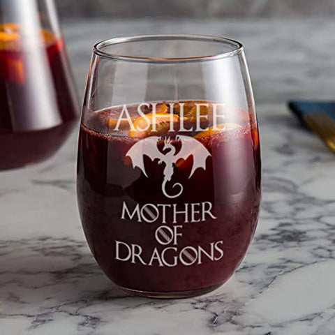 Mother Dragons Wine Glass Personalized