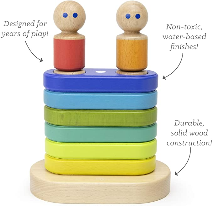 Tegu Magnetic Stacker Blue Green Yellow Characters