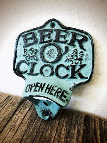 Rustic Patina Clock Bottle Opener