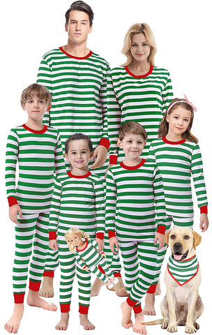 Image of Matching Christmas Striped Children Sleepwear