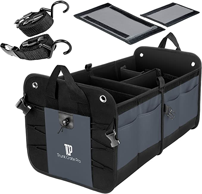 TrunkCratePro Compartments Collapsible Organizer charcoal