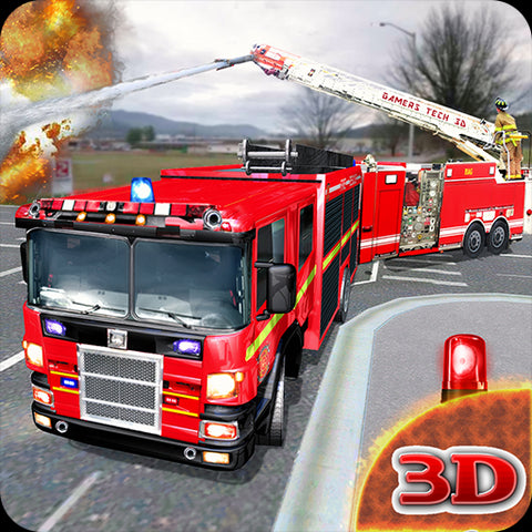 Image of Fire Engine Truck Driving Emergency