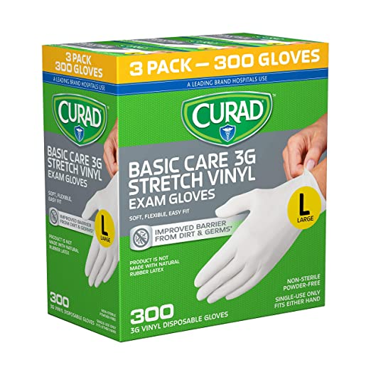 CURAD Disposable Stretch Vinyl Gloves