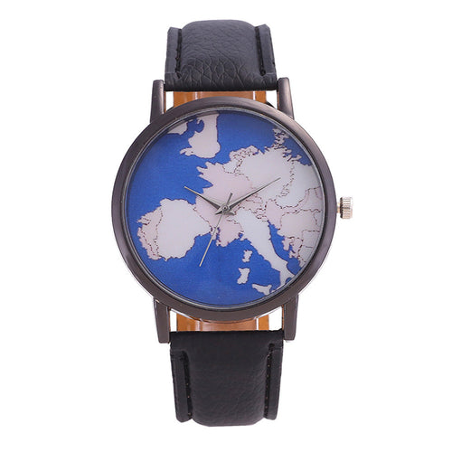World Map with Leather Band