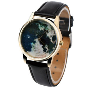 World Map Watch with faux leather band