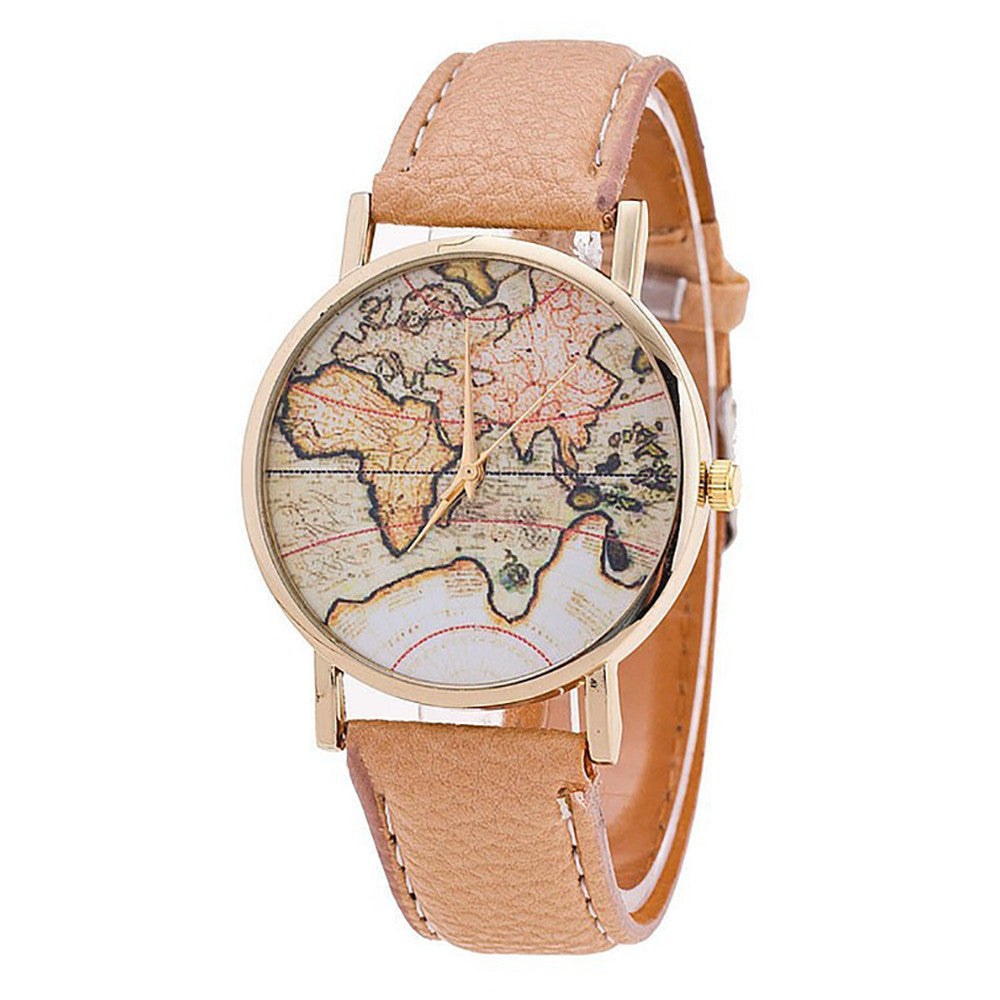 Women's World Map  Watch with Leather Strap