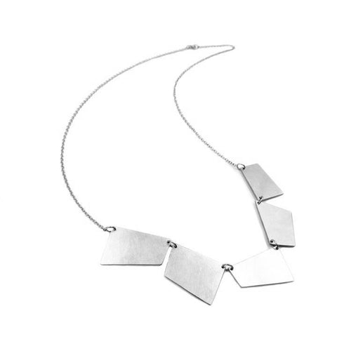 Convex Bib Necklace: Sterling Silver