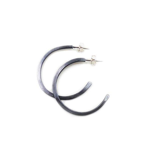 Hoop Earrings: Oxidized Sterling Silver