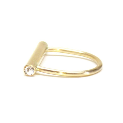 Balance Beam Ring- 14K Yellow Gold