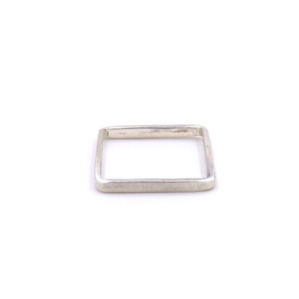 Square Band Ring: Sterling and Oxidized Silver