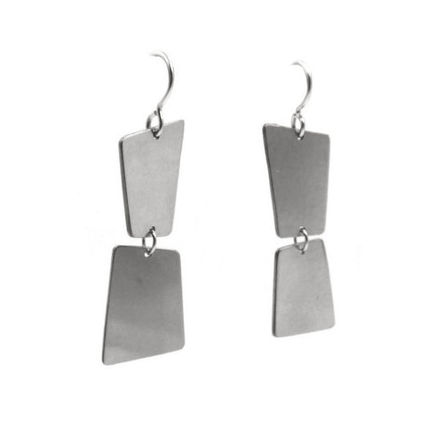 Convex Double Dangle Earrings: Sterling Silver