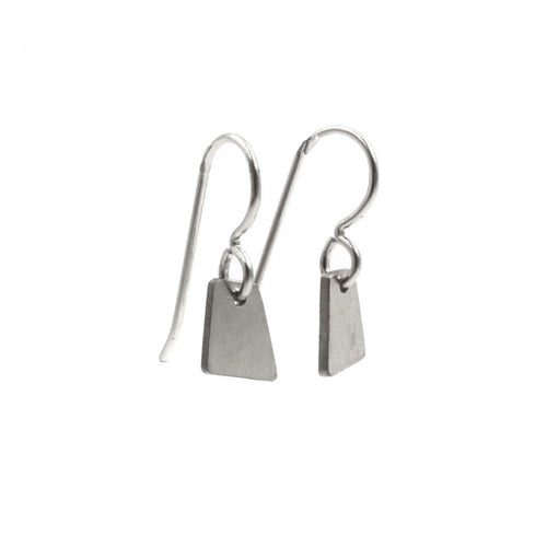 Convex Dangle Earrings- Small: Sterling Silver