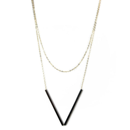 Double Bar Necklace: Oxidized Sterling Silver
