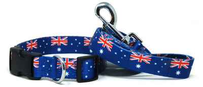 Australia Flag Dog Collar & Flag Leash Set