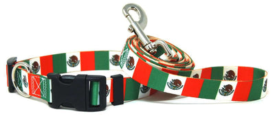 Mexico Flag Dog Collar &  Leash Set