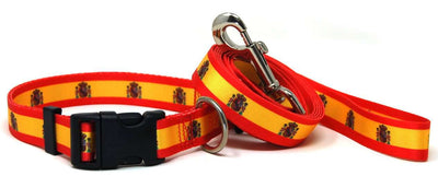 Spain Flag Dog Collar & Flag Leash Set