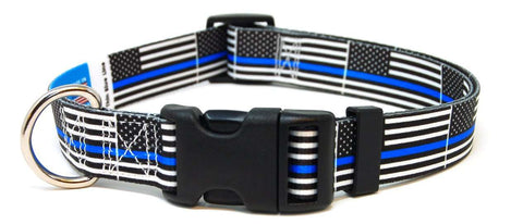 Thin Blue Line USA Flag Dog Collar