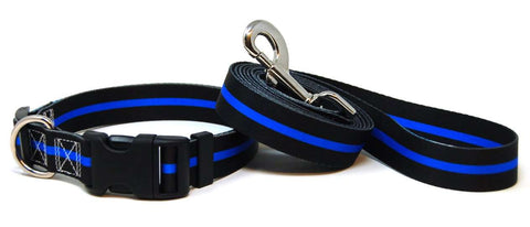 Thin Blue Line Dog Collar & Leash Set