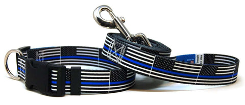 Thin Blue Line USA Flag Dog Collar & Leash Set