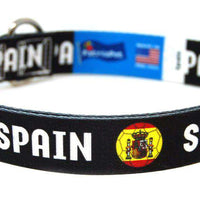 Spain Soccer Flag Dog Collar (Black)