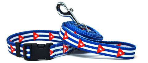Cuba Cuban Flag Dog Collar & Flag Leash Set