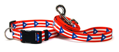 Puerto Rico Flag Dog Collar & Flag Leash Set