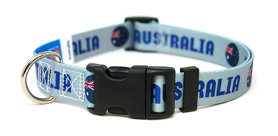 Australia soccer dog collar in blue