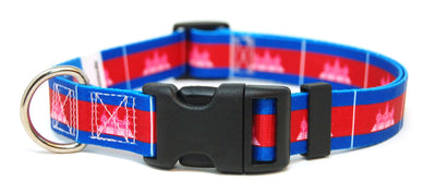 Cambodia flag dog collar