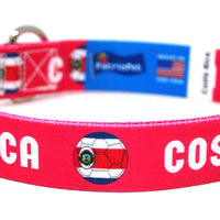 Costa Rica soccer dog collar in pink