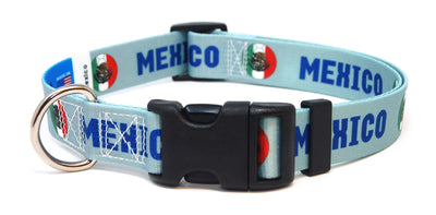 Mexico Soccer Flag Dog Collar (All Colors)