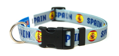 Spain - Spanish Fútbol/Soccer Flag Dog Collar (All Colors)
