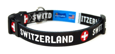 Switzerland - Swiss Fútbol/Soccer Flag Dog Collar