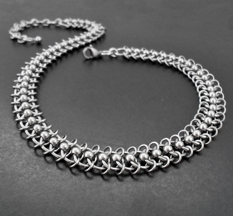 Chainmaille Stainless Steel Centipede Chain Choker Collar Necklace