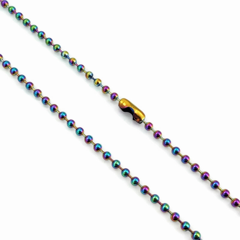 1 Stainless Steel 75cm Rainbow Ball Chain Necklace