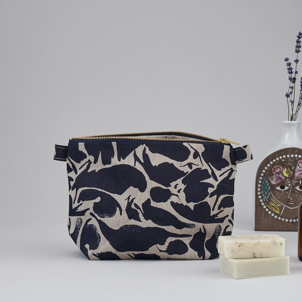 linen wash bag with navy print